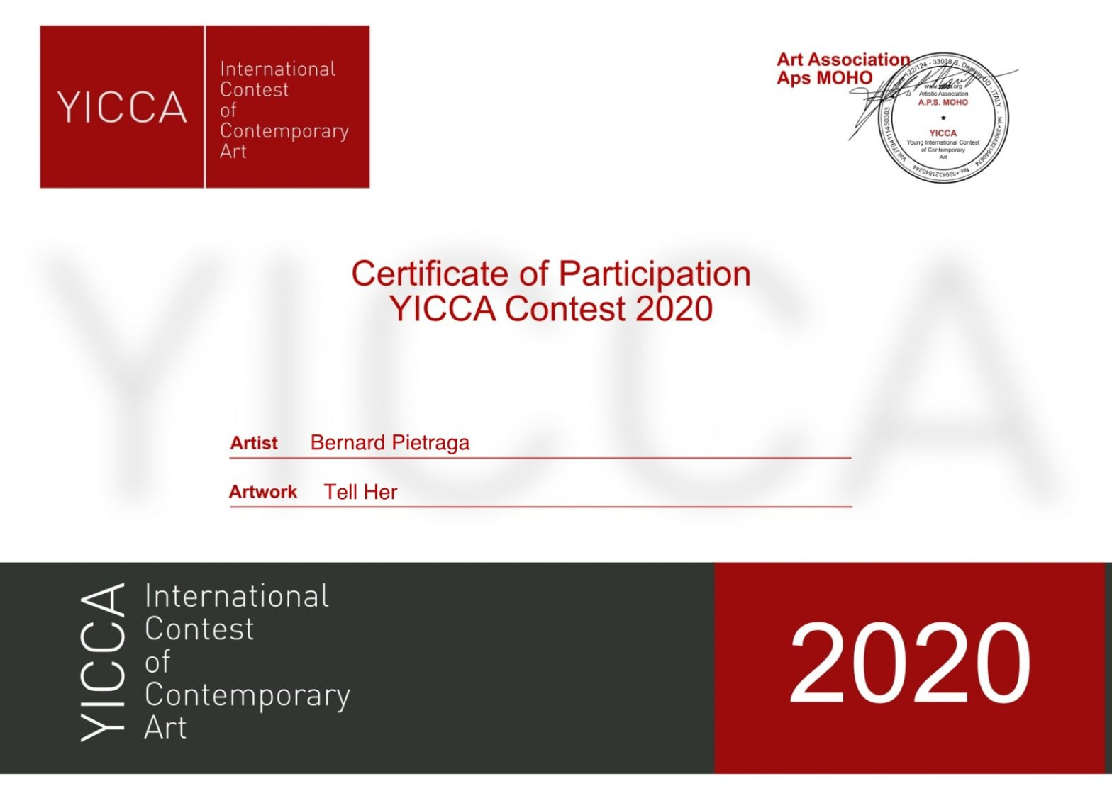 yicca international contest of contemporary art bernard pietraga certificate